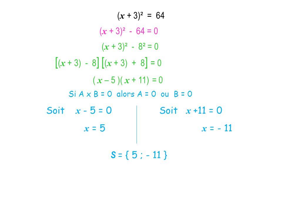 [(x + 3) - 8] [(x + 3) + 8] = 0 (x + 3)² = 64 (x + 3)² - 64 = 0